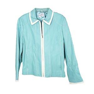 NWOT- Pamela McCoy Wmn L Blue White Leather Jacket